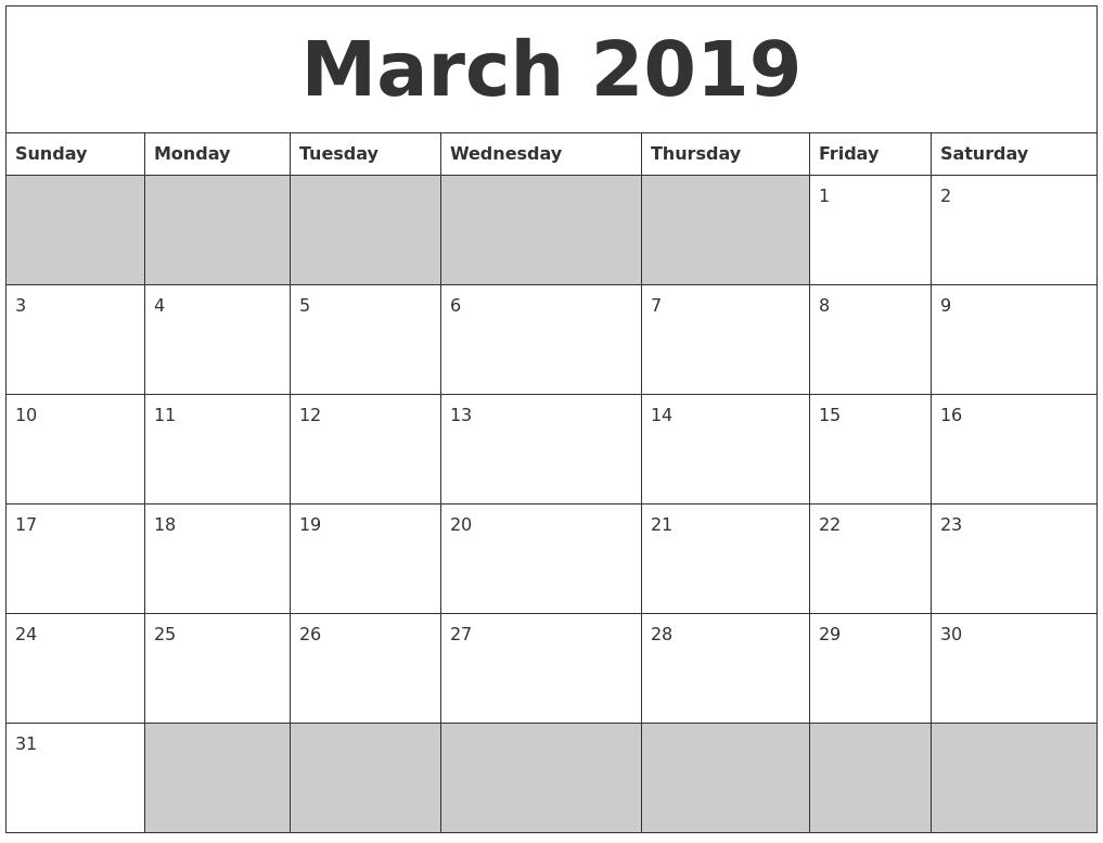 March 2019 Calendar Printable - Free Templates - Printable Calendar 2019 Shared Calendar Is Blank