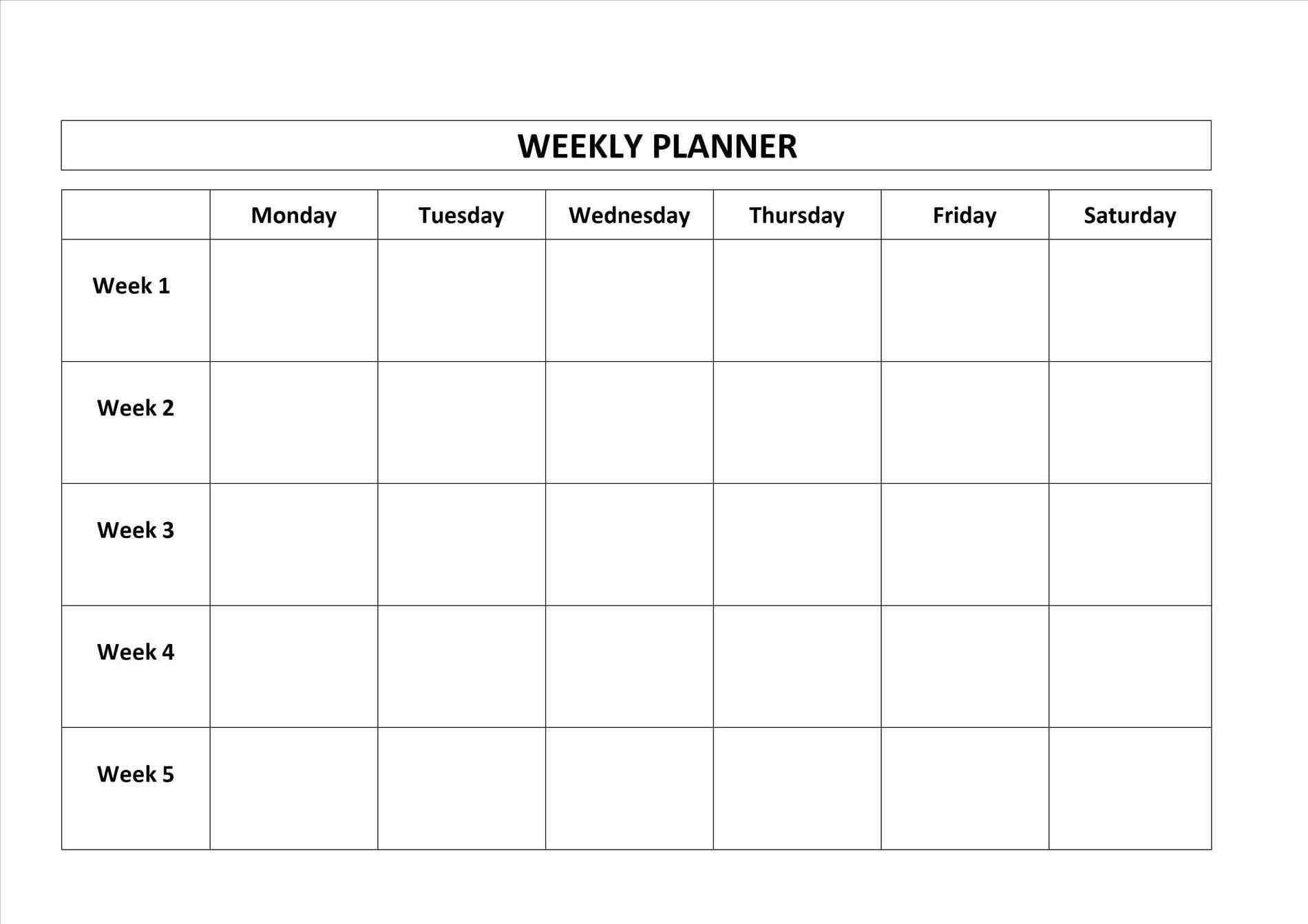 Monday Through Friday Calendar Template Word Calendar Template Saturday Through Friday