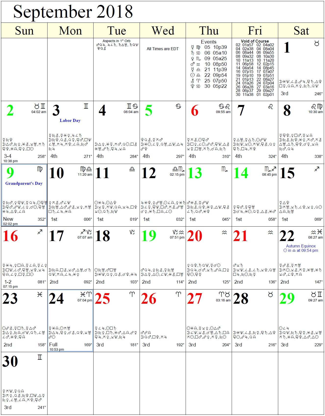 Monthly Astrology Calendars Moon Calendar With Zodiac