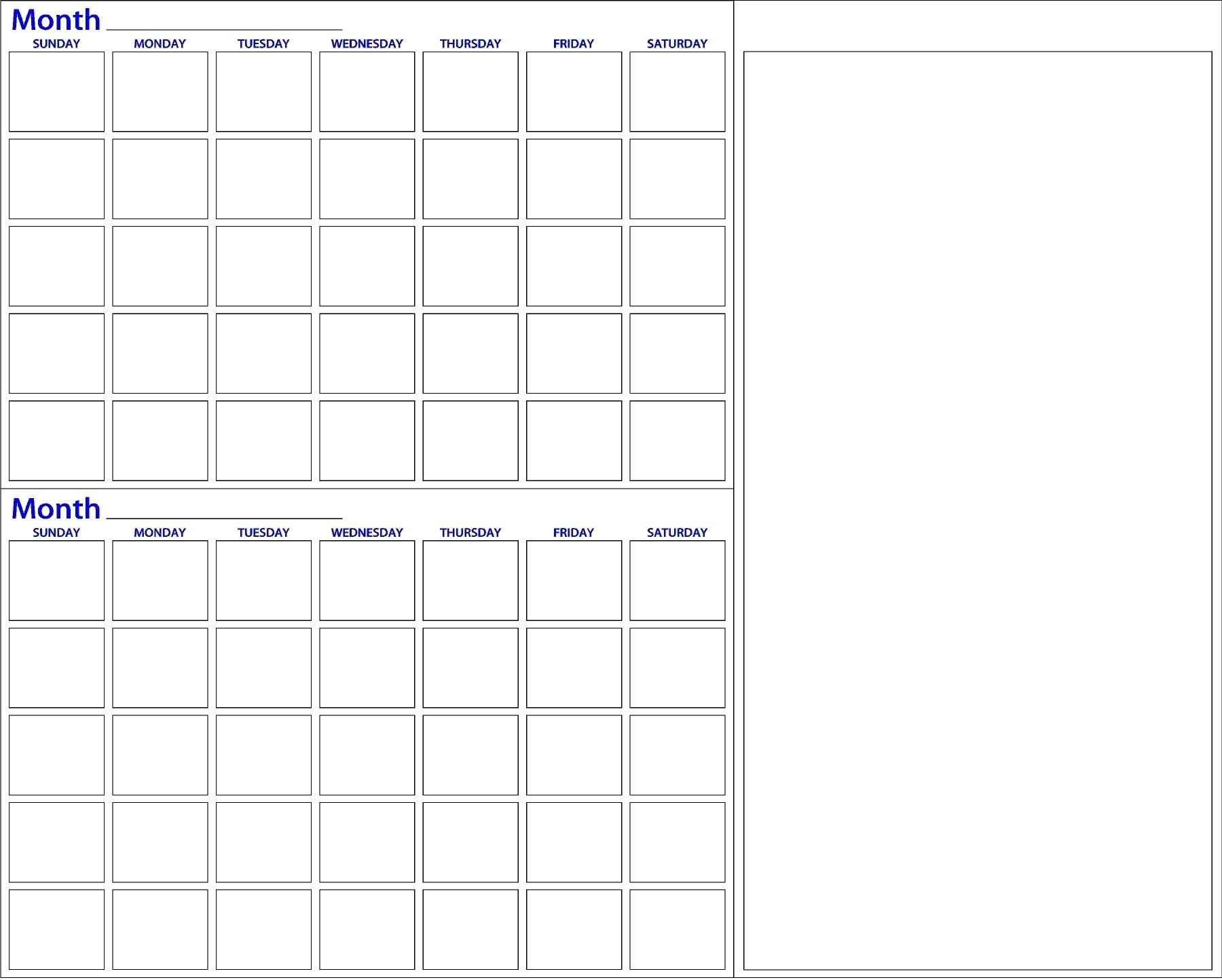 Monthly Calendar Dry Erase • Printable Blank Calendar Template 2 Month Calendar Whiteboard