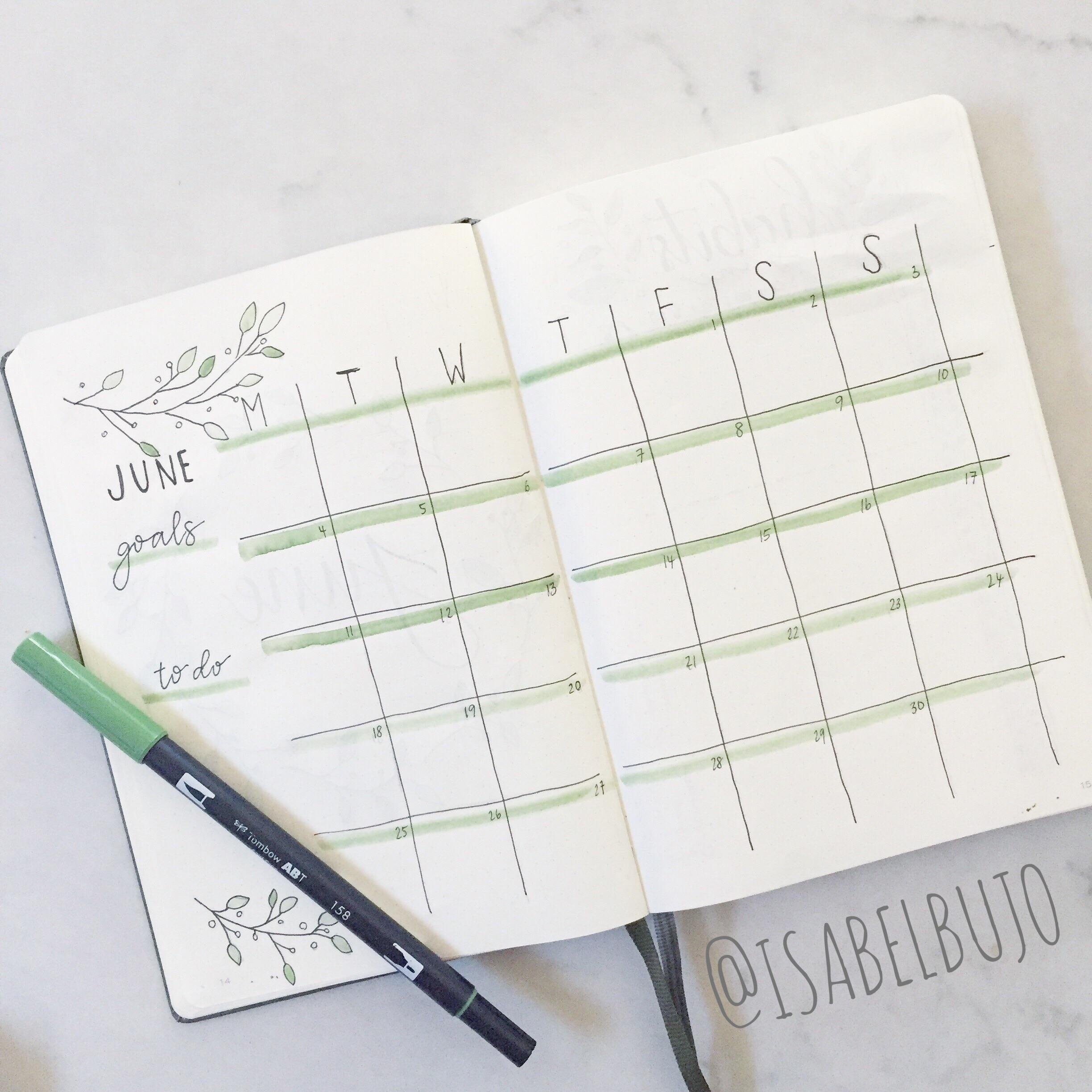 My Olive Themed June Monthly Calendar! : Bulletjournal Monthly Calendar Bullet Journal