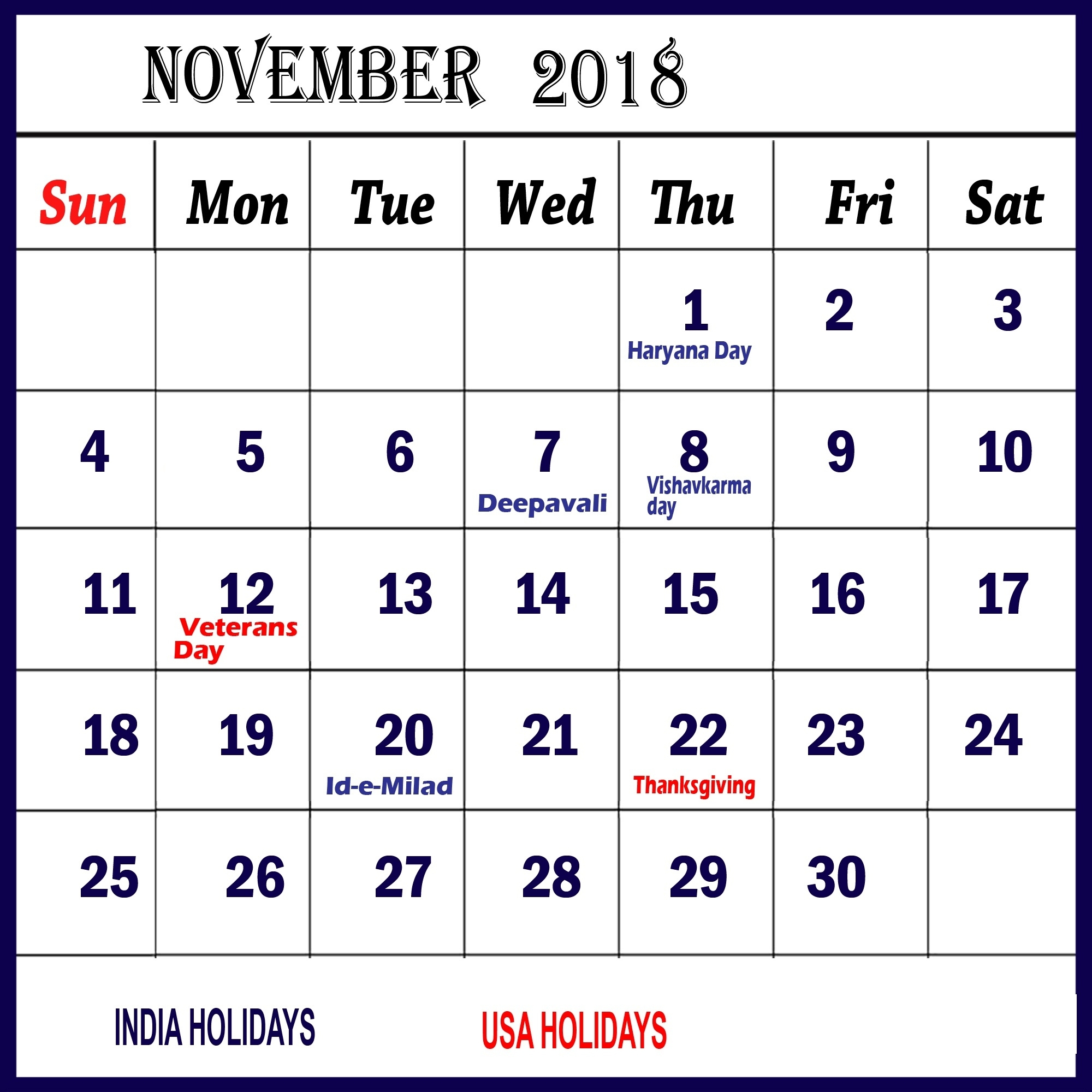 November-2018-Calendar-With-Holidays-And-Events - November Calendar Calendar With Holidays And Events