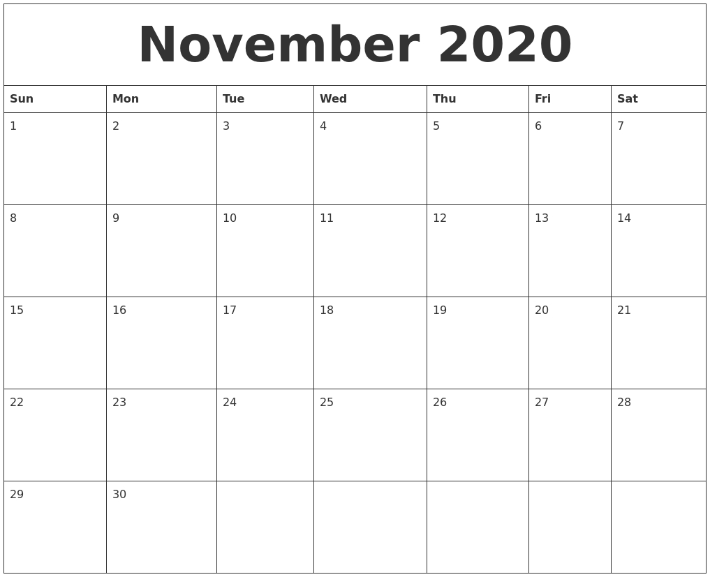 November 2020 Word Calendar Remarkable 2020 Calendar Printable Word