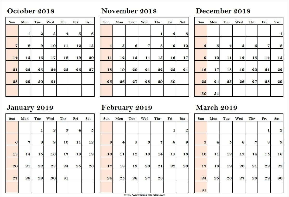 October 2018 To March 2019 Calendar Printableoctober 2018 To March Free Calendar 6 Month