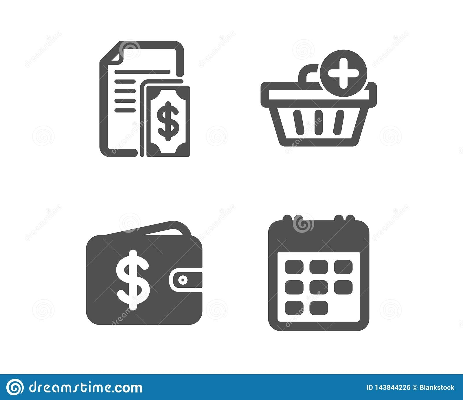 Payment, Add Purchase And Dollar Wallet Icons. Calendar Sign. Cash Add Calendar Event Icon