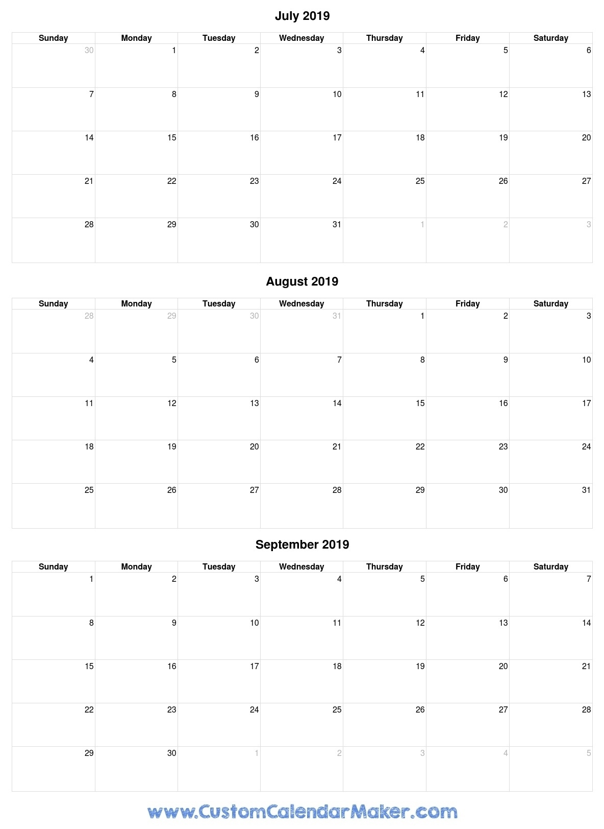 Perfect Printable June And July 2019 On One Page Calendar * Calendar Calendar Template Three Months Per Page