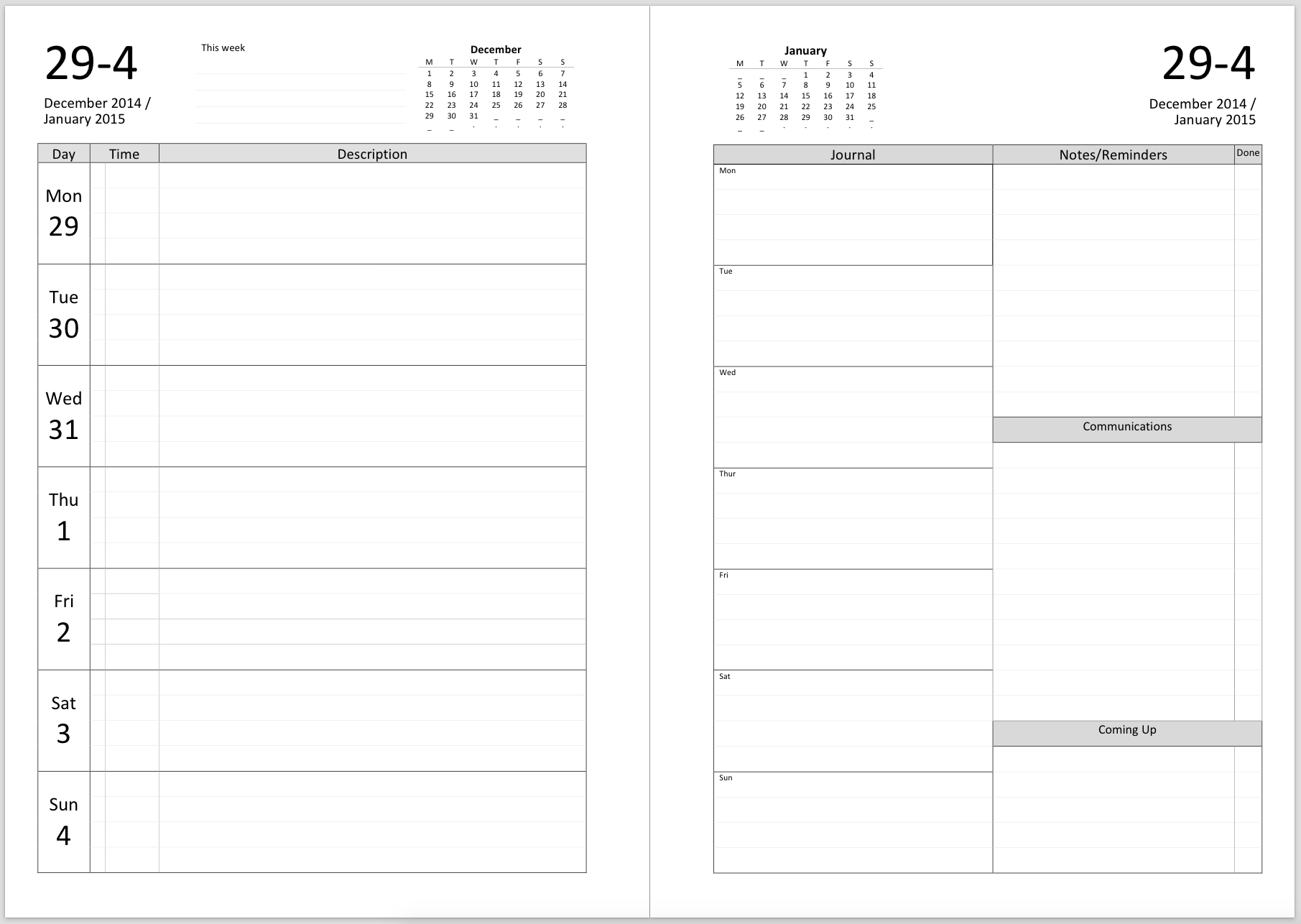 Philofaxy: Diary Inserts For 2019 Page A Day Calendar Printing