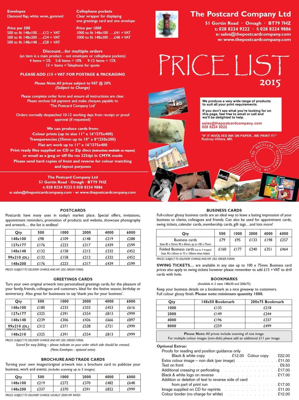 Postcard Printing By The Postcard Company Calendar Printing Price List