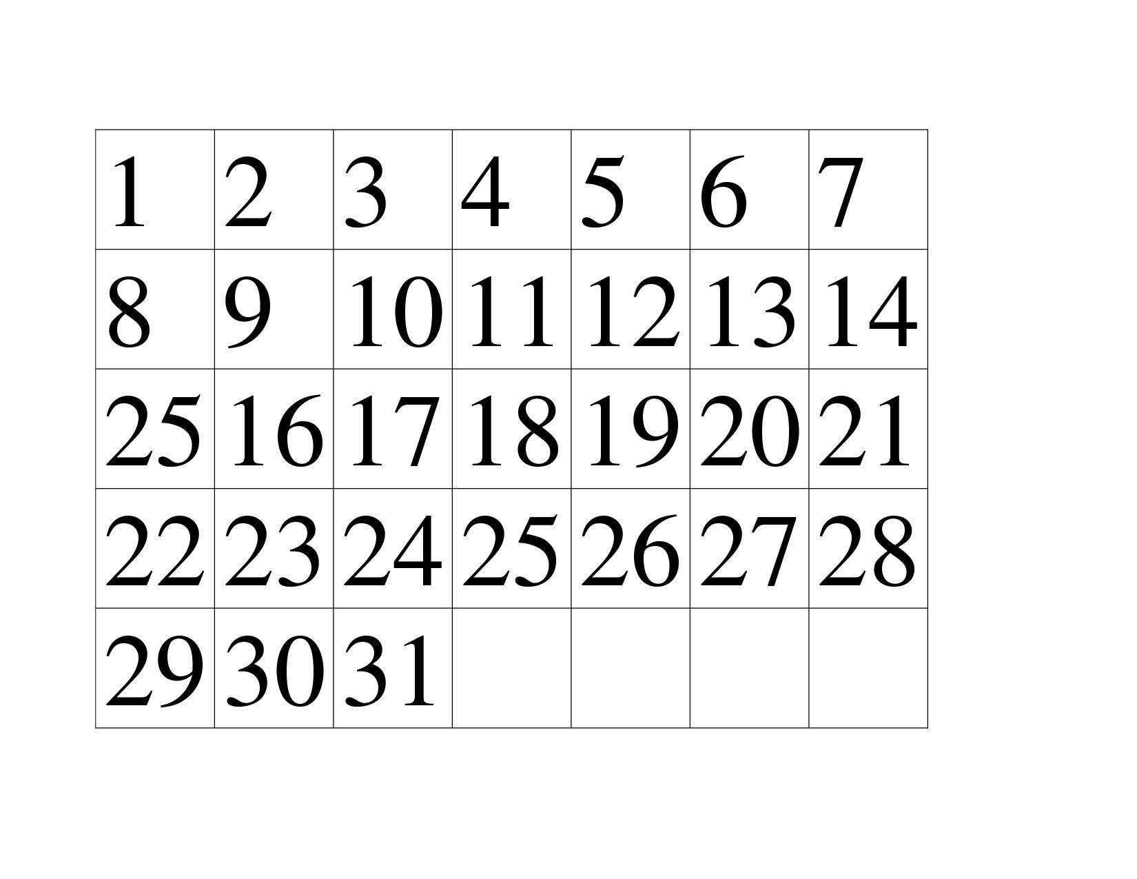 Preschool Printables Calendar Numbers Free Calendar Template Example Printable Calendar Numbers For Preschool