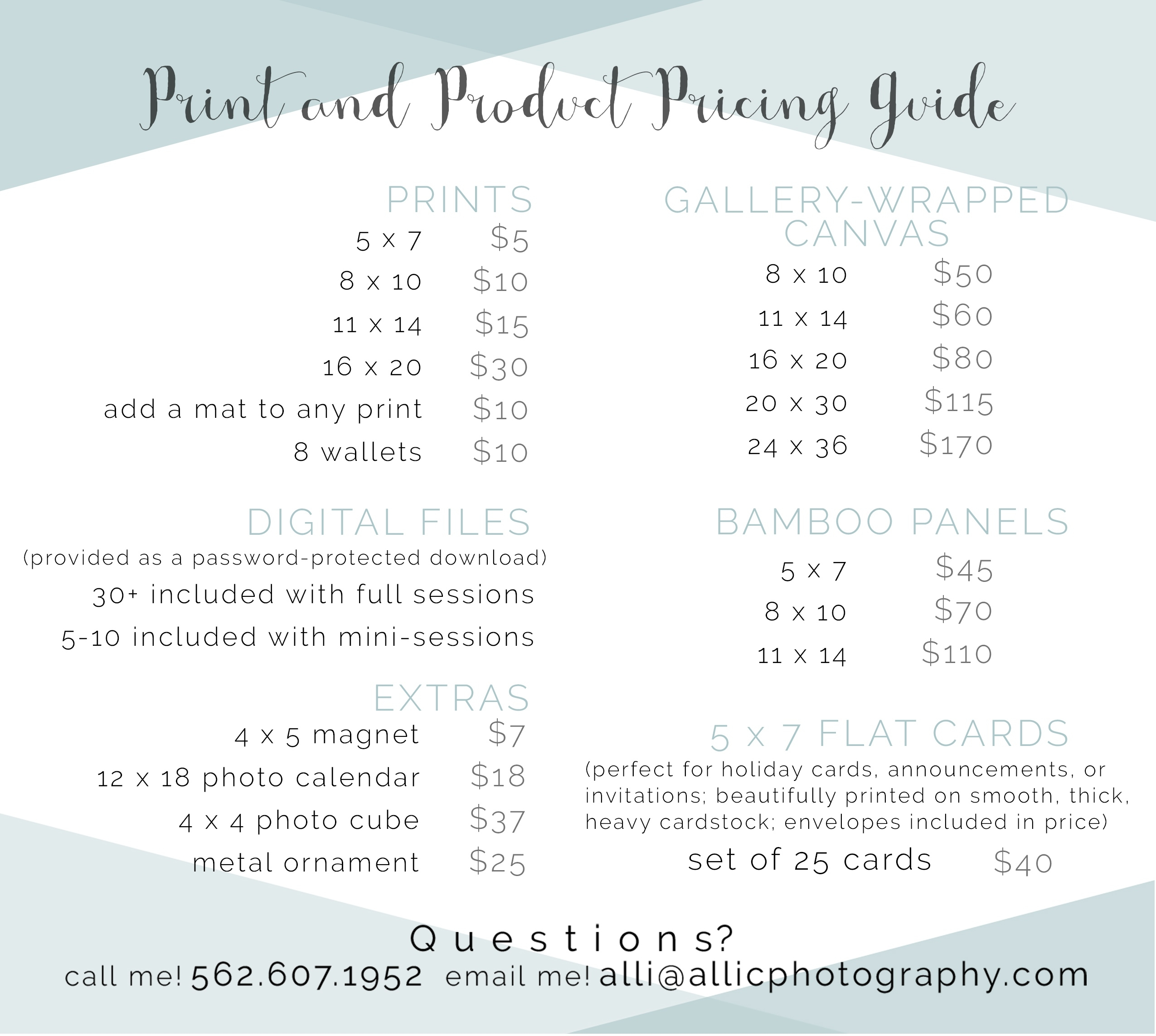Print And Product Price List | Alli Cheatwood Photography Calendar Printing Price List