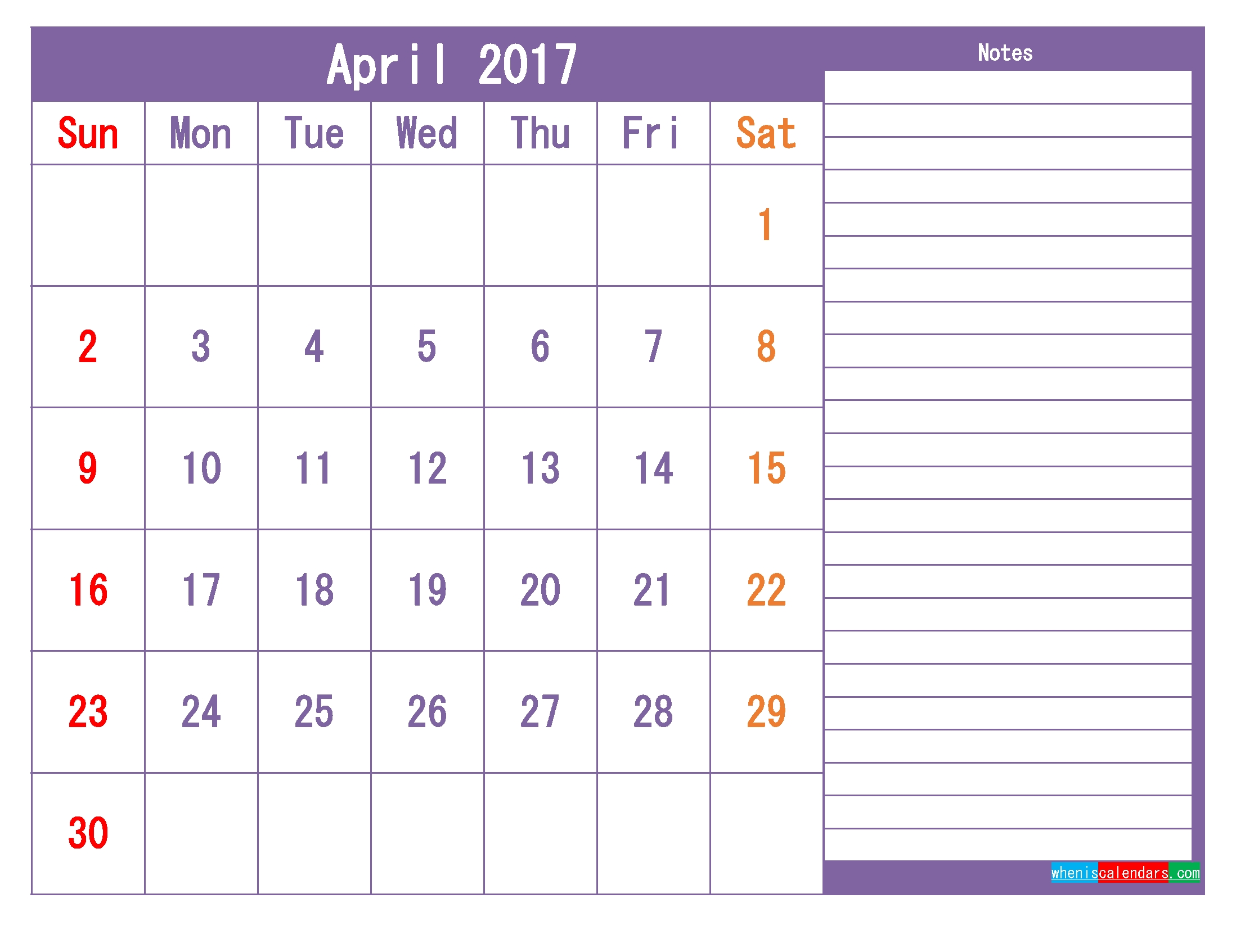 Printable 2017 Calendar Templates April ( Pdf, Png ) | Free Calendar Template With Room For Notes