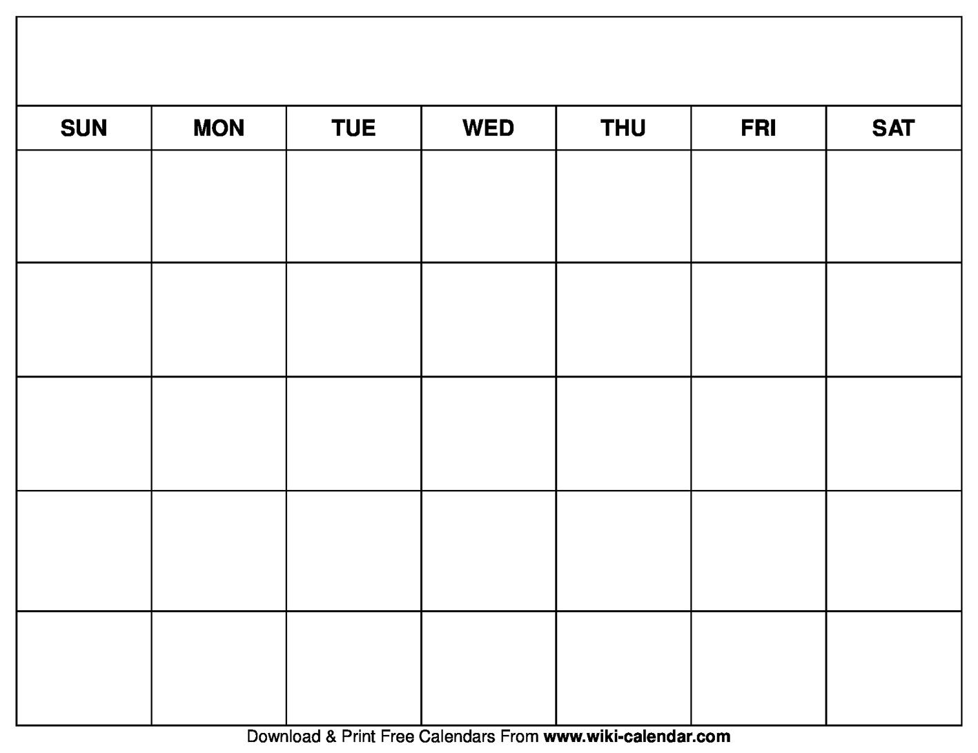 Printable Blank Calendar Templates Calendar Blank To Print