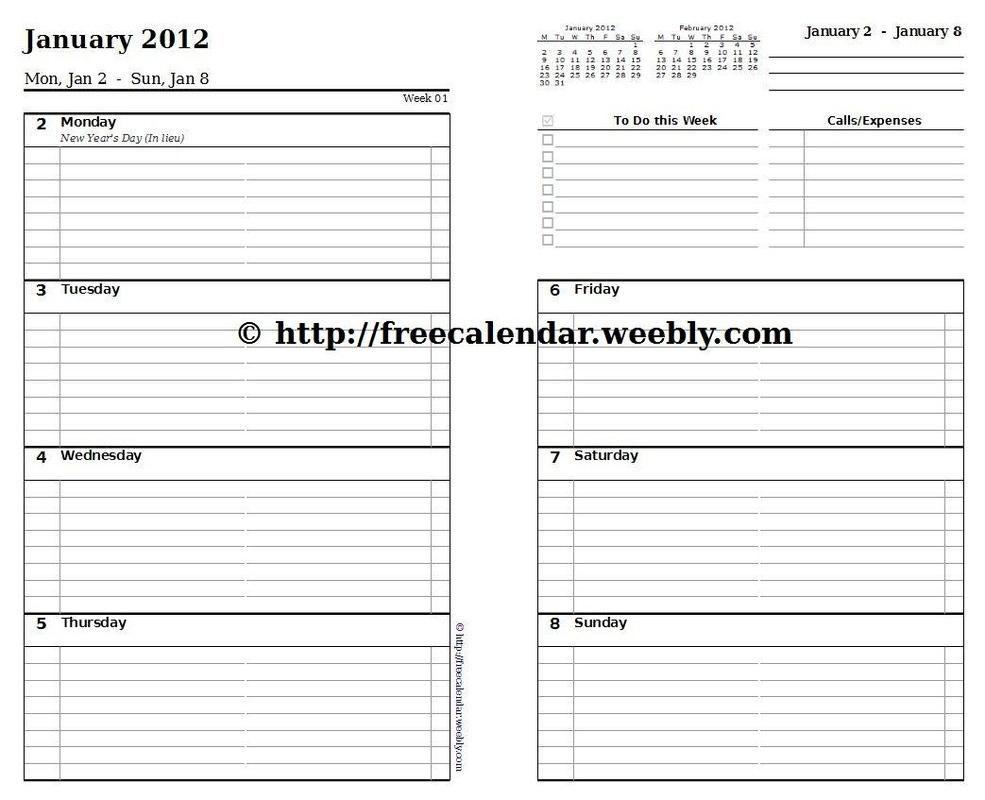 Printable Calendar 2012 - Free Printable Calendars 5.5 X 8.5 Calendar Template