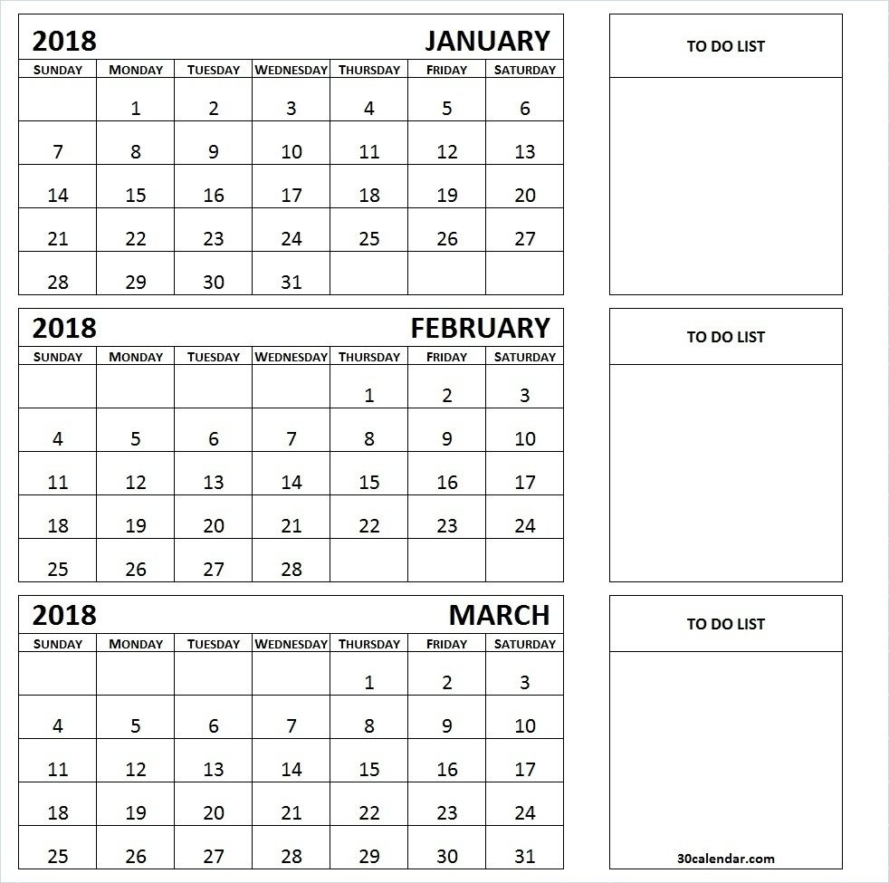 Printable Calendar 2018 Three Months Per Page | Printable Calendar 2019 Calendar Template Three Months Per Page