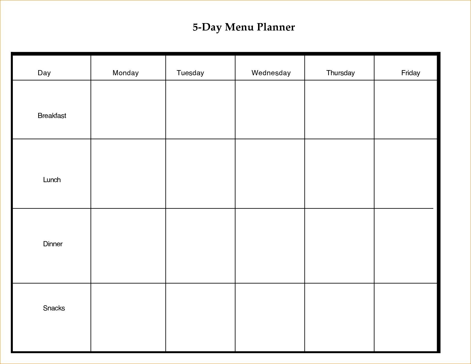 Printable Day Calendar Blank Template Week With Weekly Excel Word 5 Day Calendar Template Word