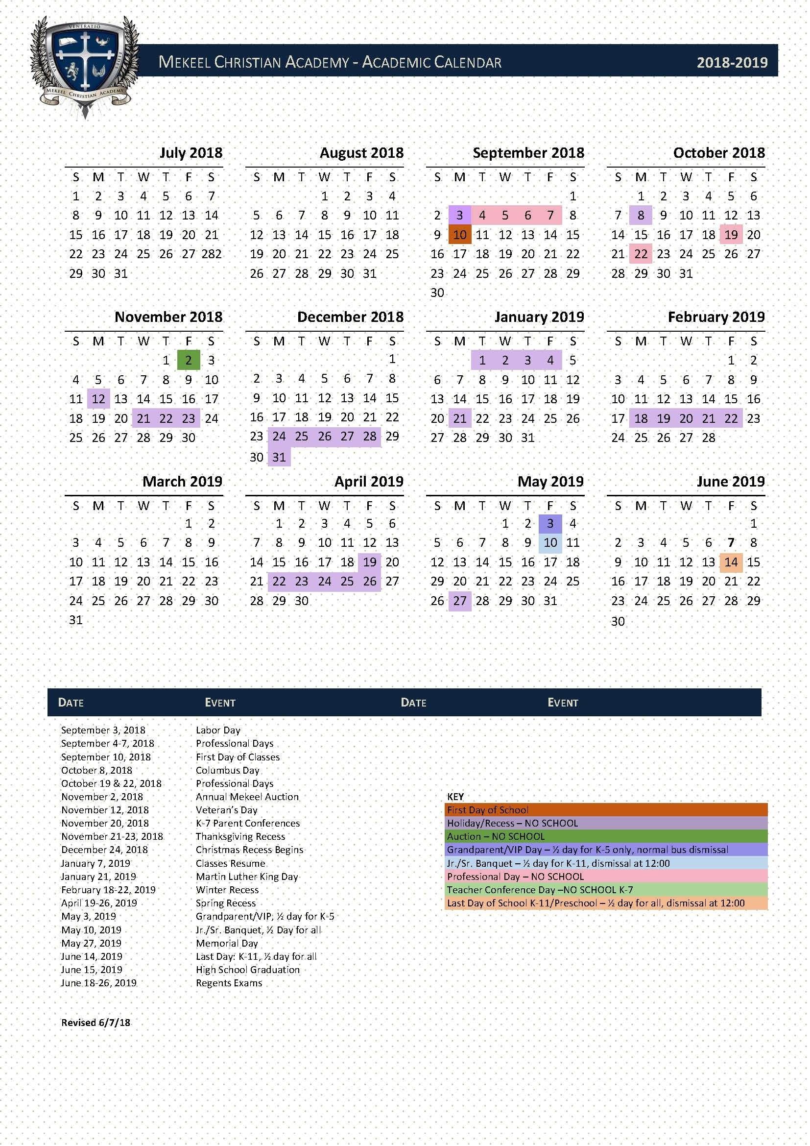 School Calendar York 1 School Calendar