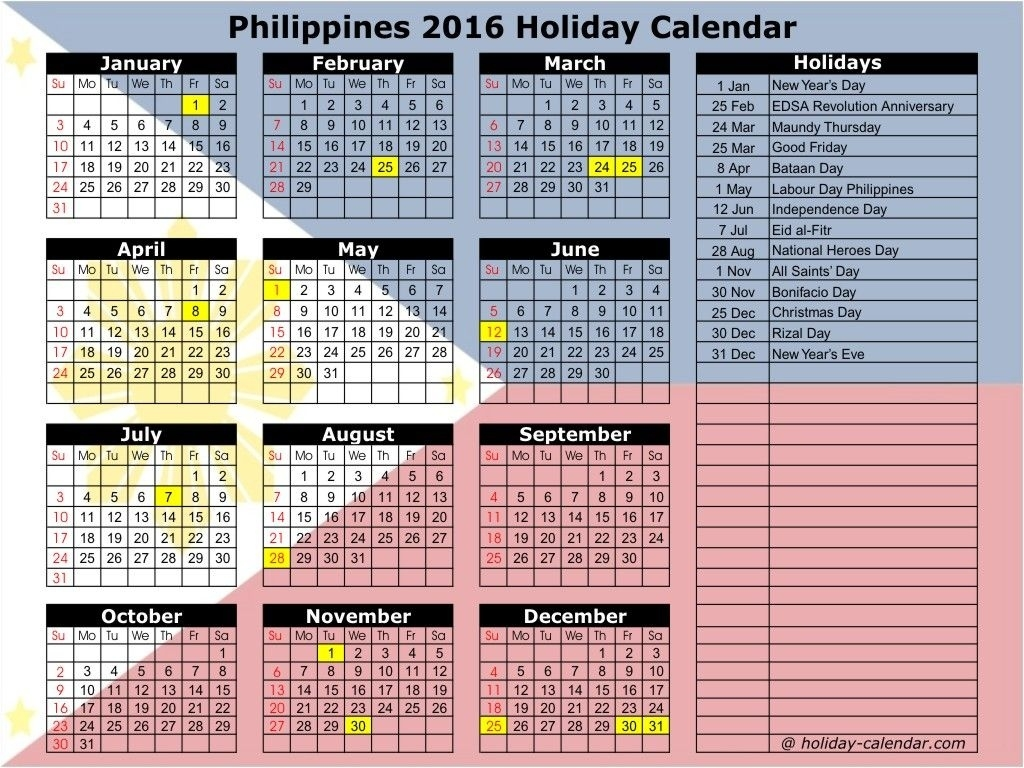 September 2016 Calendar Philippines | September Month | Holiday Calendar Holidays In Philippines