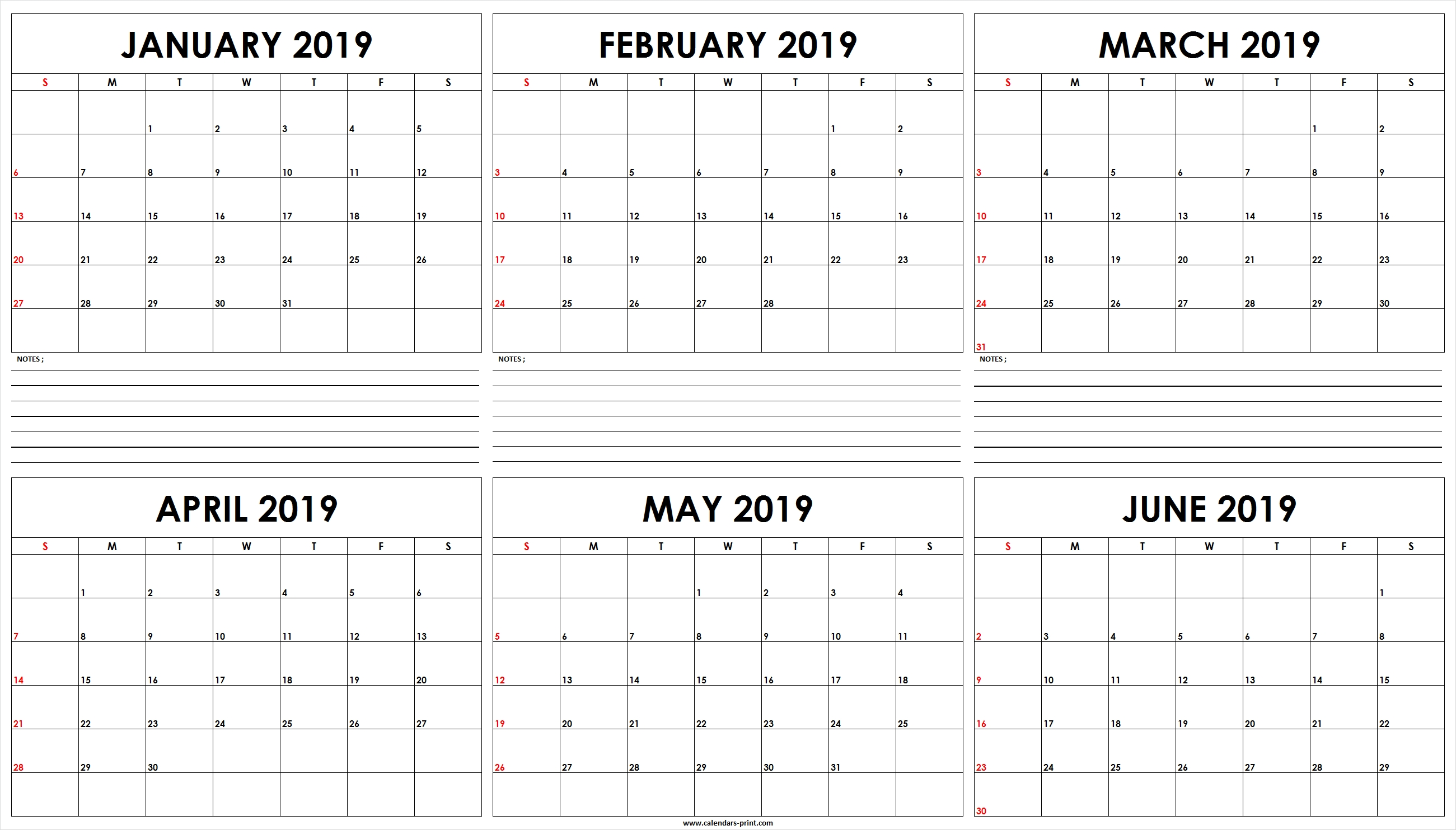 Six Monthly January 2019 To June 2019 Calendar Template | Editable Free Calendar 6 Month