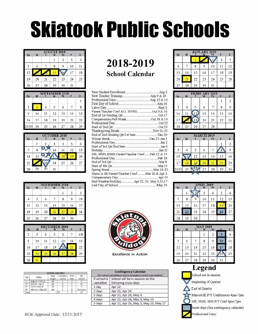 Skiatook Public Schools - District Calendar Calendar School District 96
