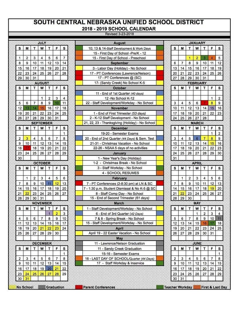 South Central Usd 5 - 2018-2019 School Calendar Recently Approved School Calendar Charlotte County