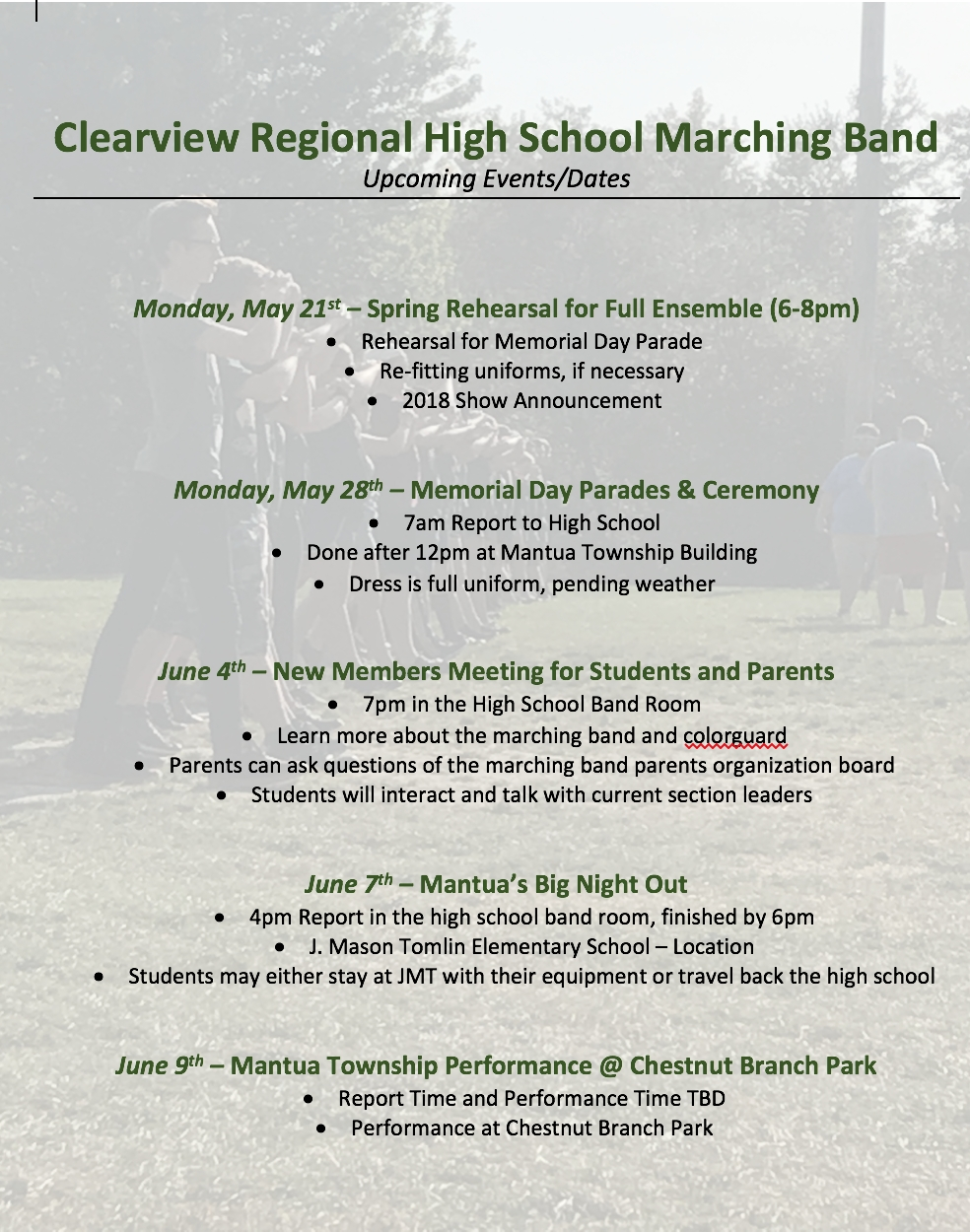 Spring Marching Band Schedule | Viewband J Mason Tomlin School Calendar