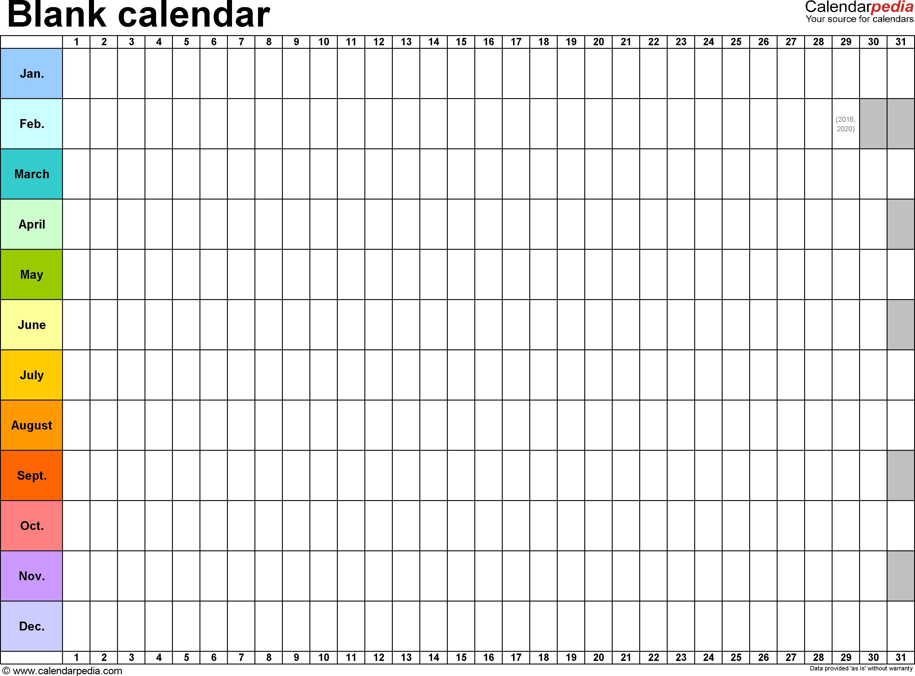 Template 2: Excel Template For Blank Calendar (Landscape Orientation 1 Year Calendar Template Excel