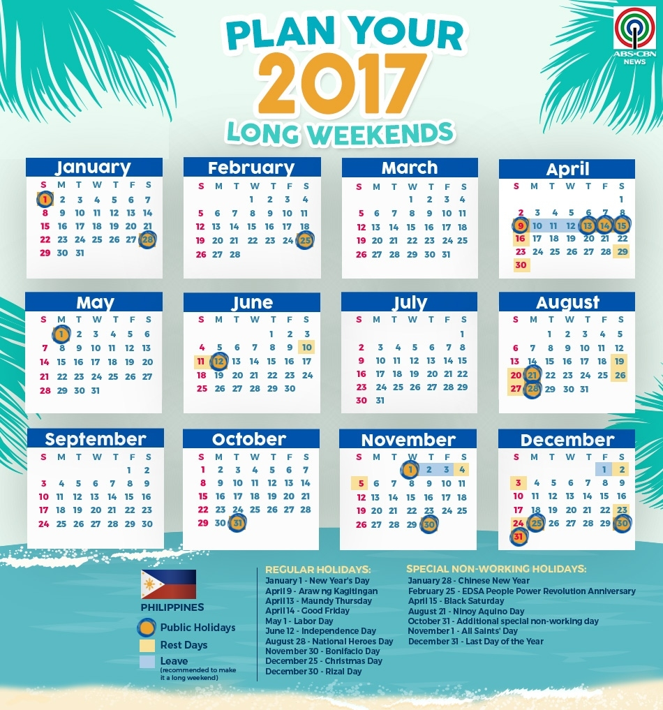 This Calendar Will Help You Plan Your 2017 Holidays | Abs-Cbn News Calendar Holidays In Philippines
