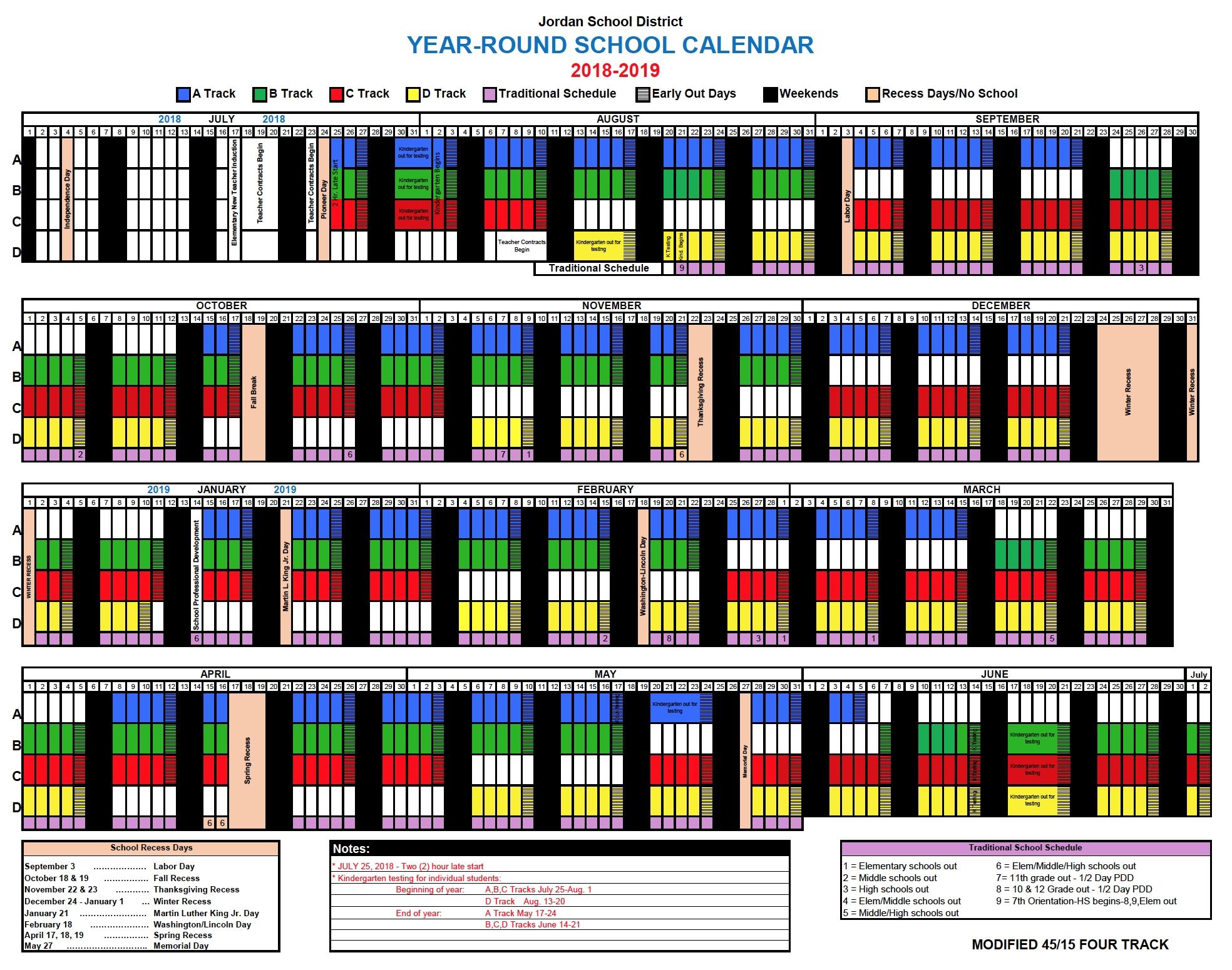 Track Calendar – Jordan Ridge Elementary Exceptional Year Round Calendar Jordan School District