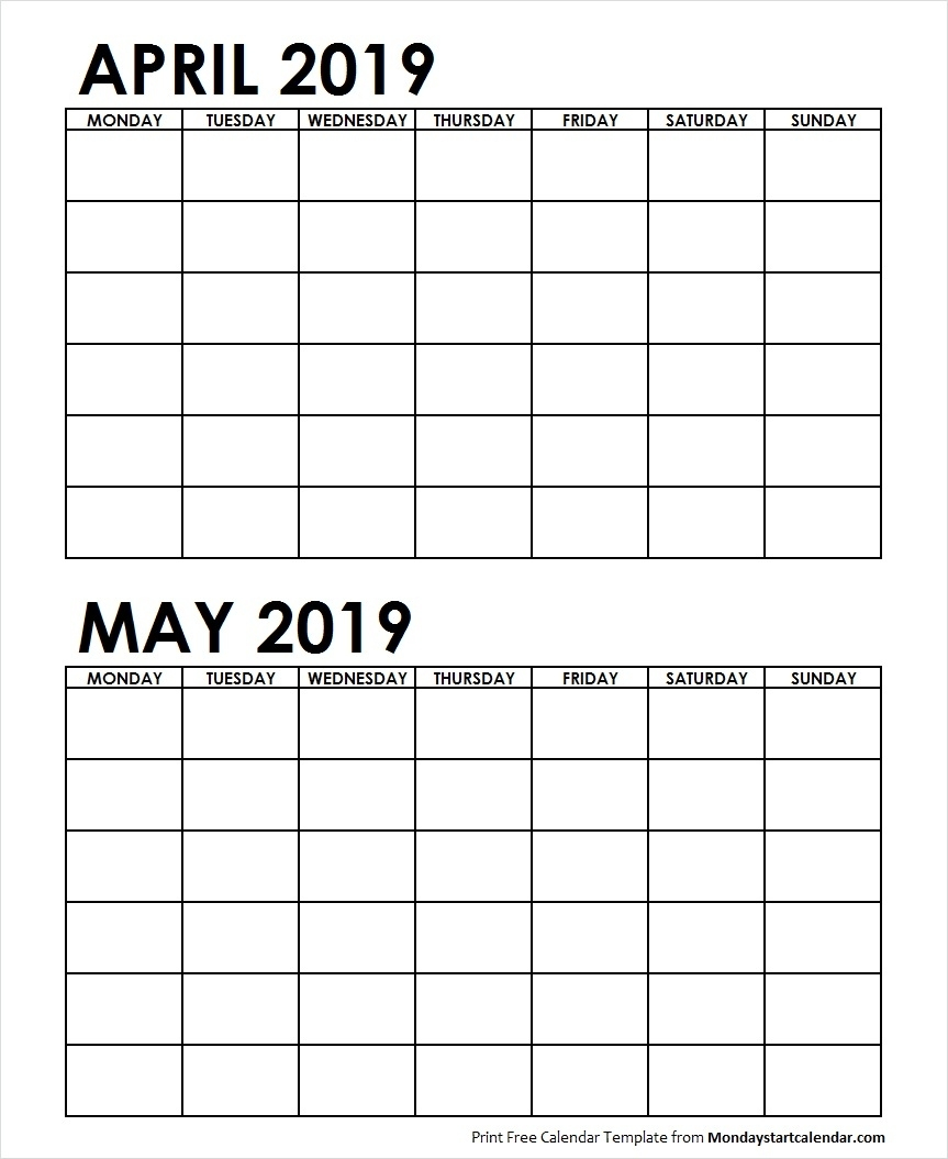 Two Month April May 2019 Calendar Blank | Two Months Template 2 Month Calendar Blank