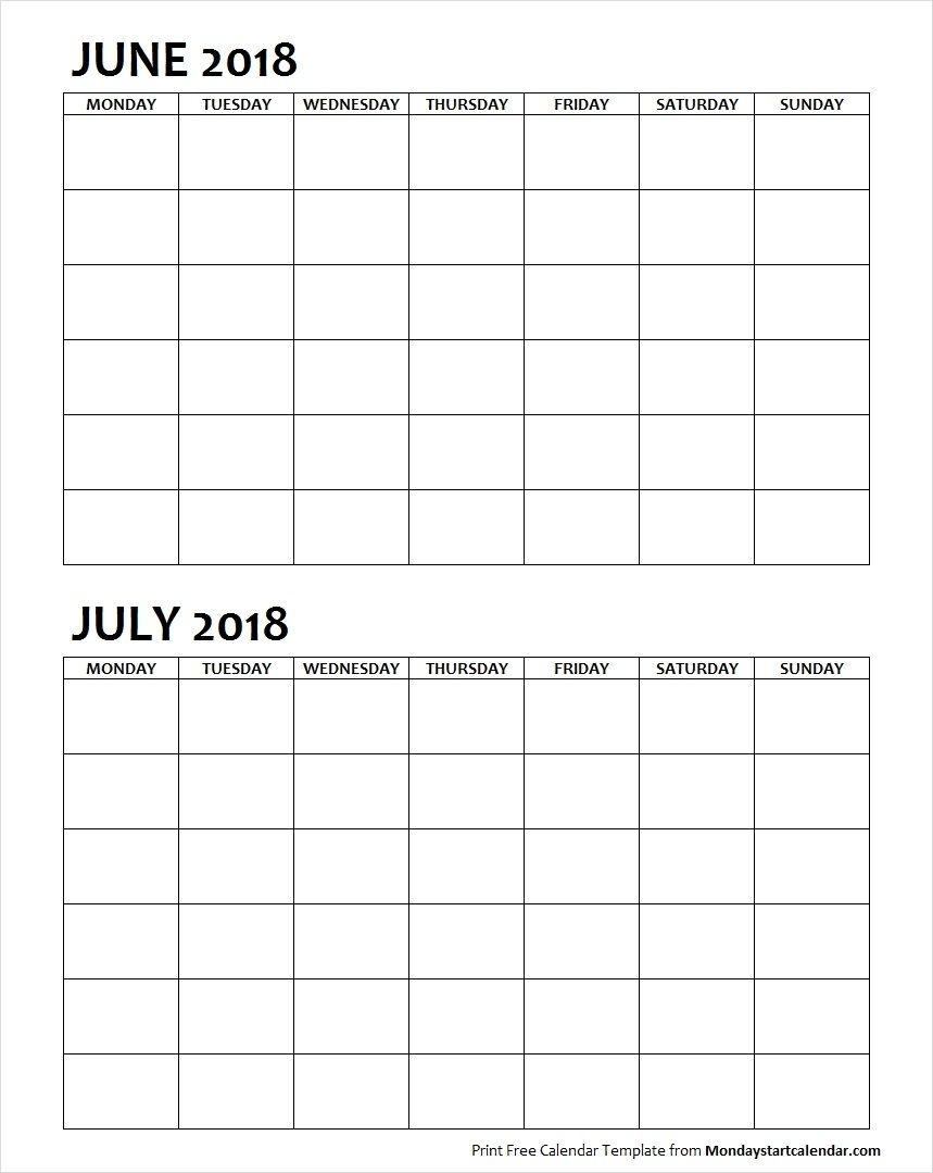 Two Month June July 2018 Calendar Blank | June 2018 | Blank Calendar 2 Month Calendar Blank
