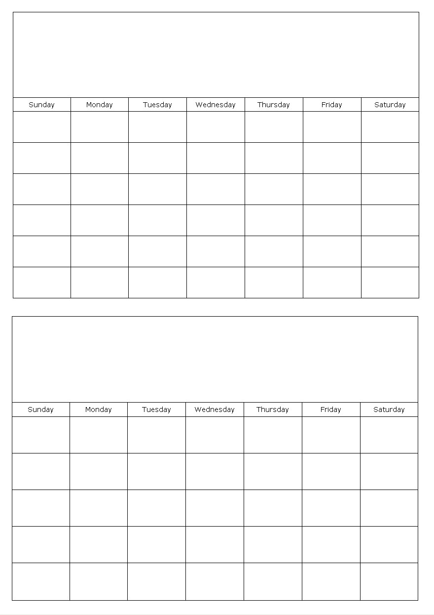 Two Months On A Page Blank Calendar Template 2 Month Calendar Blank