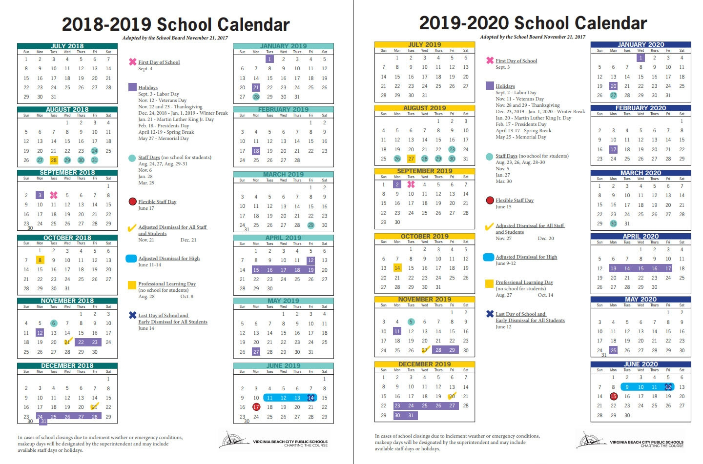 Two Years Of School Calendars, With 181 Instructional Days, Okayed Perky School Calendar For Virginia Beach