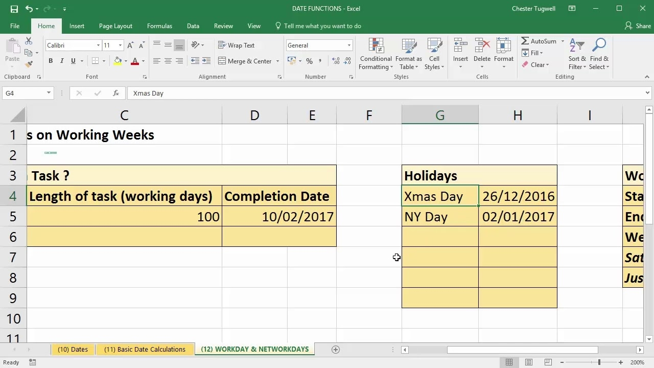 Use Excel To Add Days To Date Excluding Weekends And Holidays - Youtube Calendar Countdown Excluding Weekends