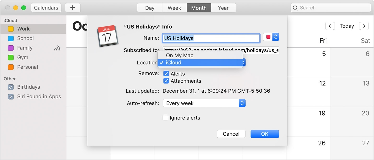 Use Icloud Calendar Subscriptions - Apple Support Mac Calendar Icon Not Updating