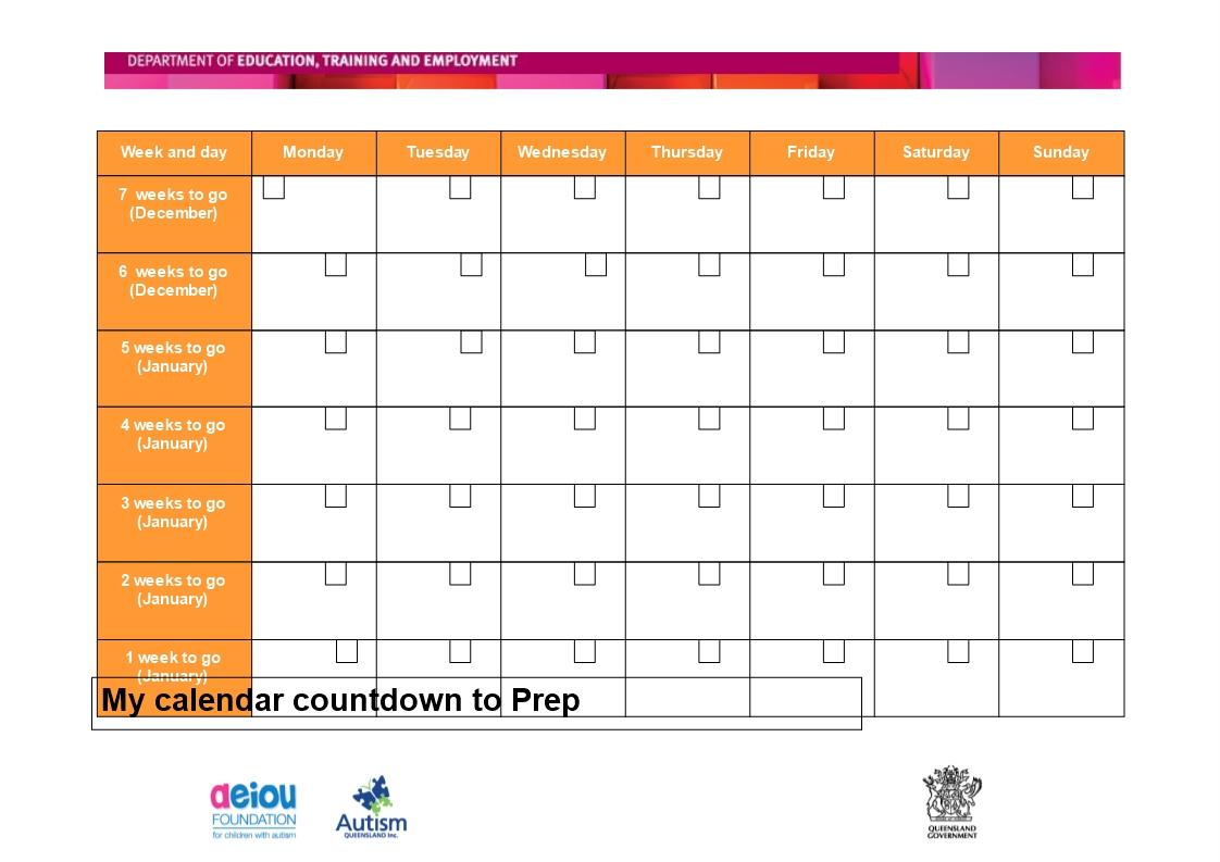 Week Calendar Template Day Schedule Free Printable Countdown Calendar Countdown To Print