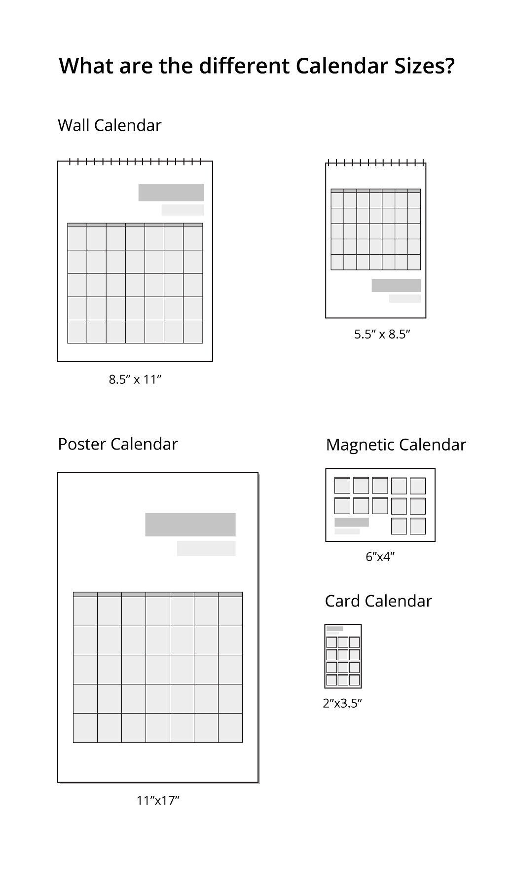 What Are The Different Calendar Sizes? | Uprinting Calendar Printing Price List