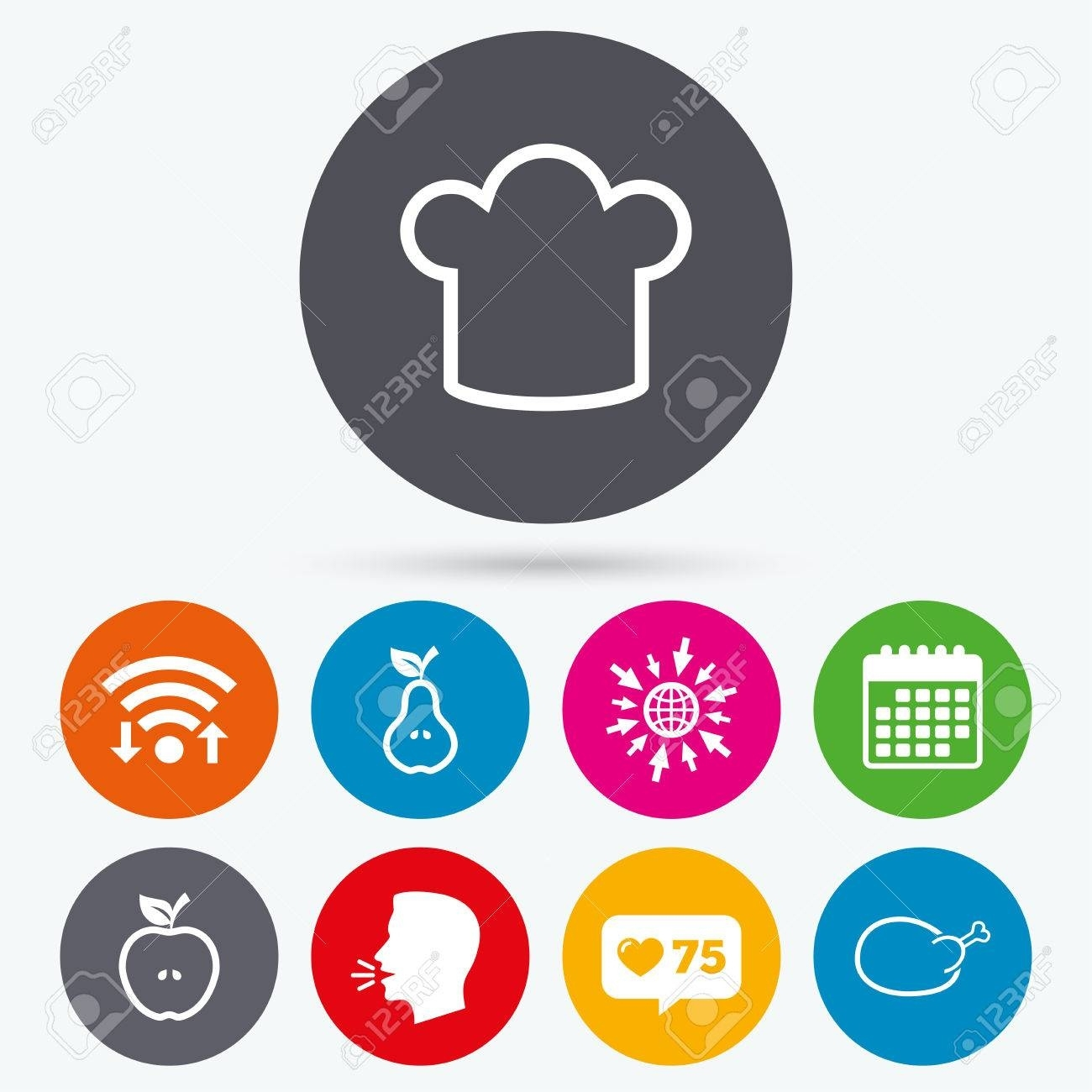 Wifi, Like Counter And Calendar Icons. Food Icons. Apple And Apple Calendar Icon Vector