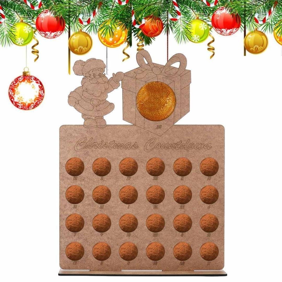 Wooden Hollow Out Christmas Advent Calendar Santa Claus Handmade New Christmas Countdown Calendar App