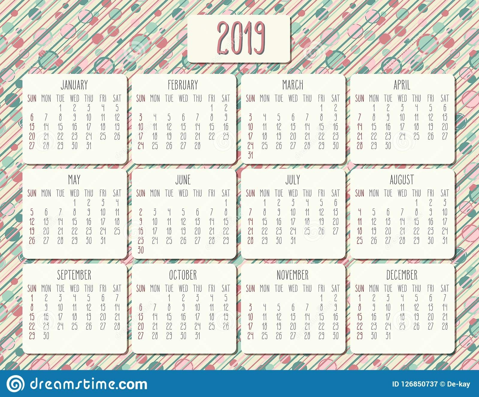 Year 2019 Monthly Calendar Stock Vector. Illustration Of Schedule 5 Year Monthly Calendar