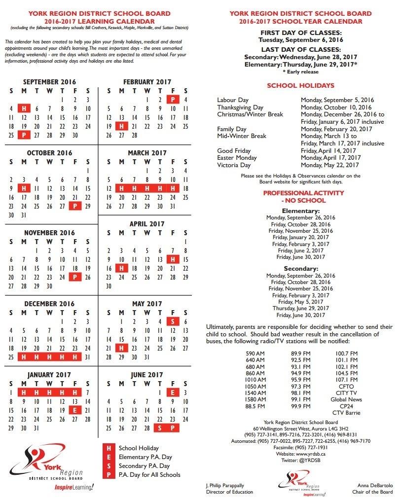 "York Region Dsb On Twitter: ""reminder: Friday, November 25 Is A Pa York 1 School Calendar"