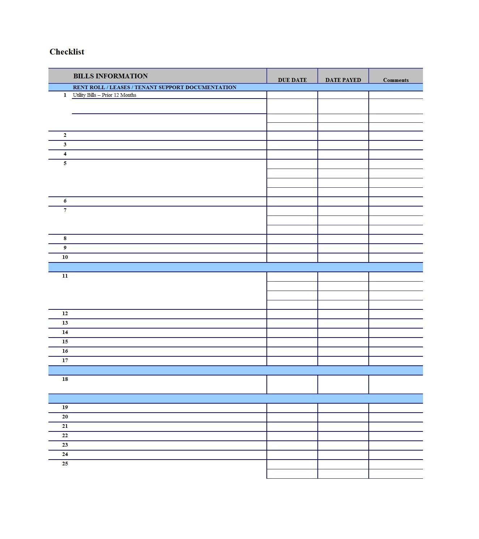 010 Bill Pay Calendar Template Free Checklists Calendars Pdf Impressive Free Monthly Calendar Checklist Template