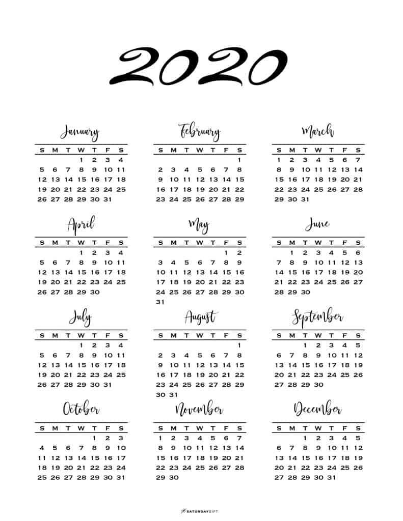 1 Page 2020 Calendar - Colona.rsd7 Free Printable 2 Page Calendar 2020