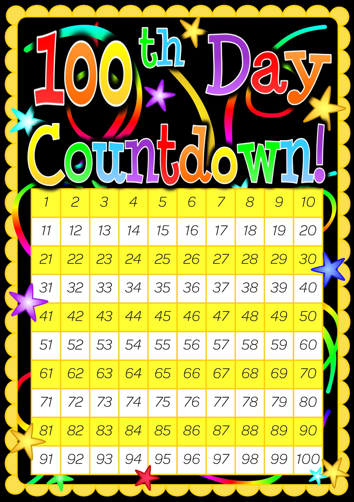 100 Day Countdown Poster. Included Is A 200 Day Countdown 100 Day Countdown Calendar Printable