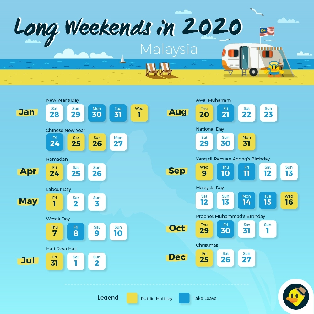 12 Long Weekends In 2019 For Malaysians © Letsgoholiday.my Remarkable Calendar 2020 Malaysia With School Holiday