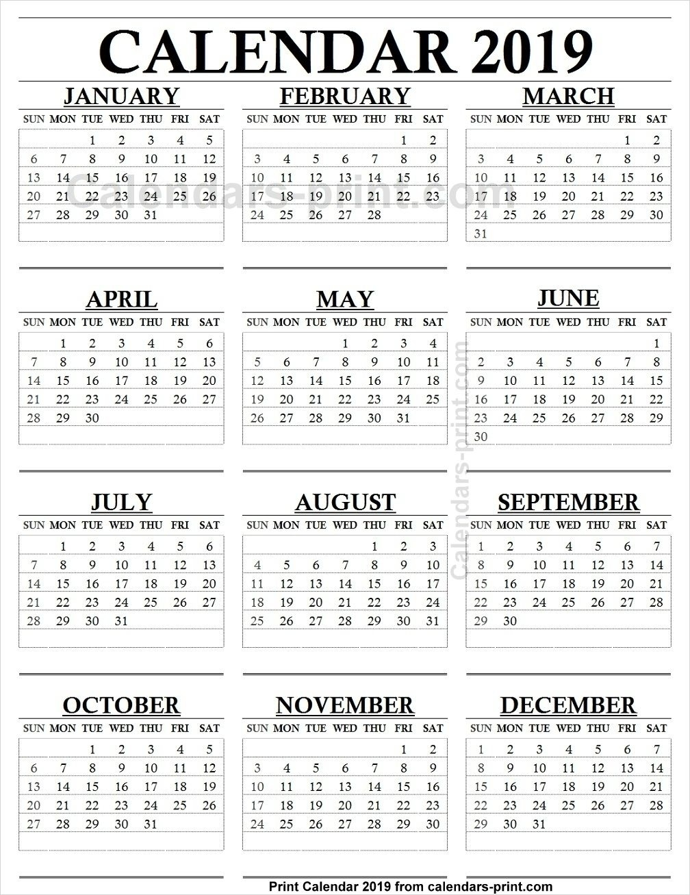 12 Month Calendar 2019 One Page To Print Free   Blank Pdf Perky 6 M Onth Calendar On One Page