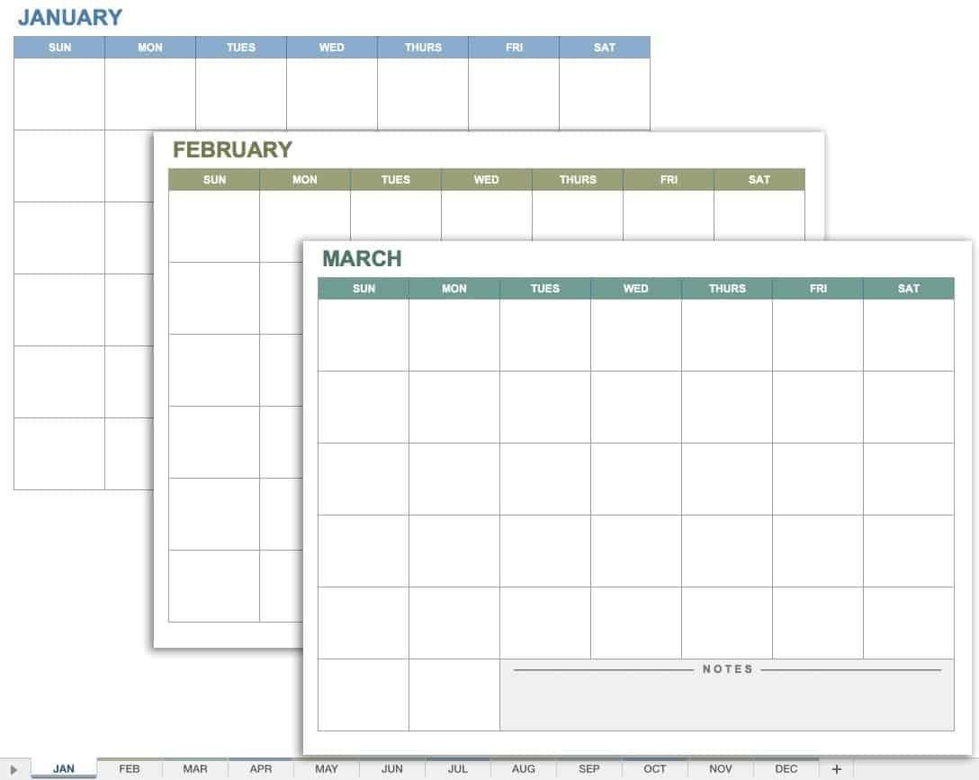 15 Free Monthly Calendar Templates   Smartsheet Extraordinary Blank Calendar Page No Datea