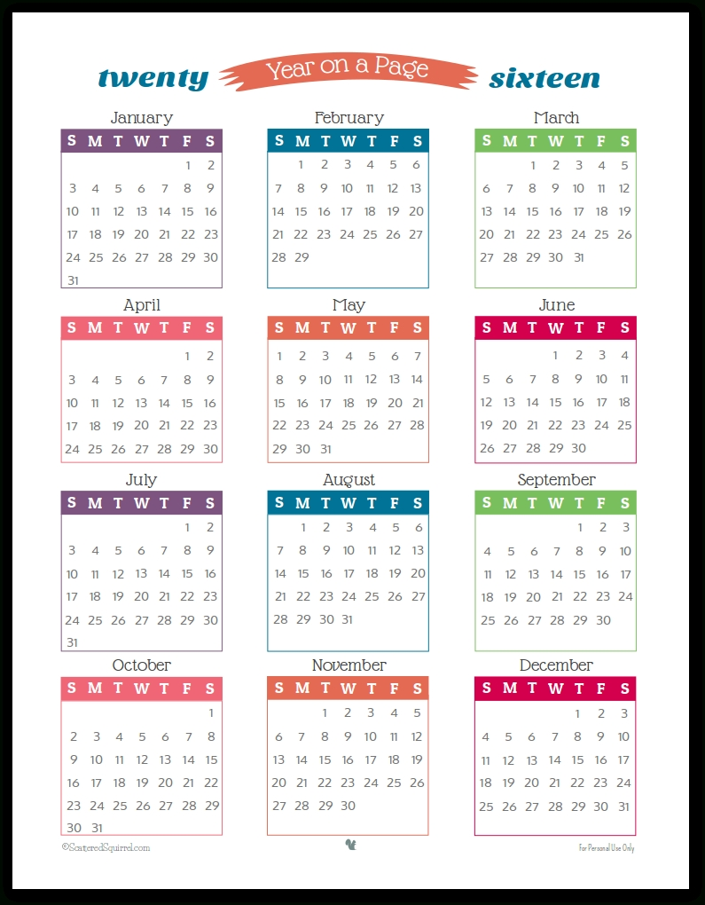 2016 Year On Page Printable Calendars Are Here! Perky 5 X 7 Blank Printable Calendar