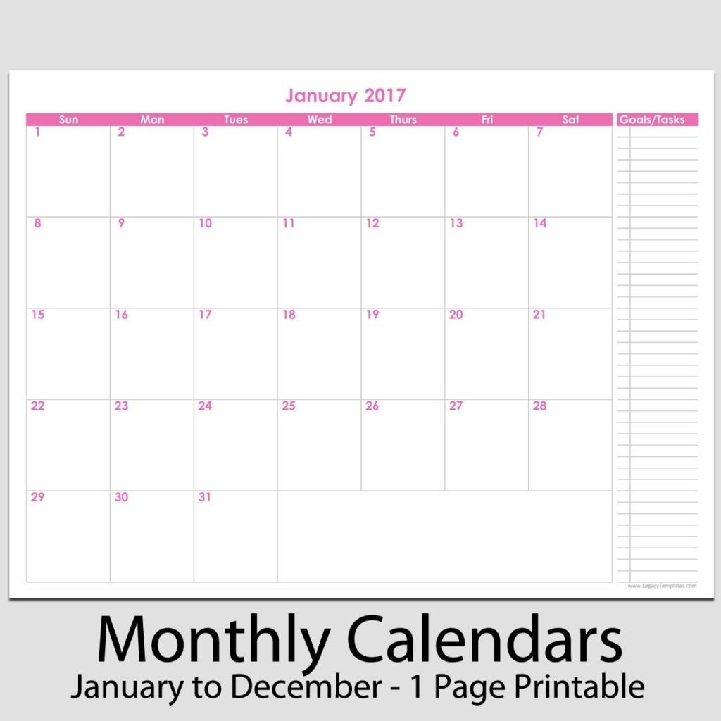 "2017 - 12 Month Calendar With Tasks - 8 1/2"" X 11"" | Legacy 8.5 X 11 Calendar Print"