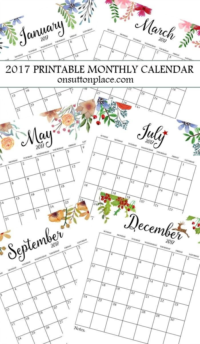2017 Free Printable Monthly Calendar | Printables | Monthly Free Month At Glance Calendar