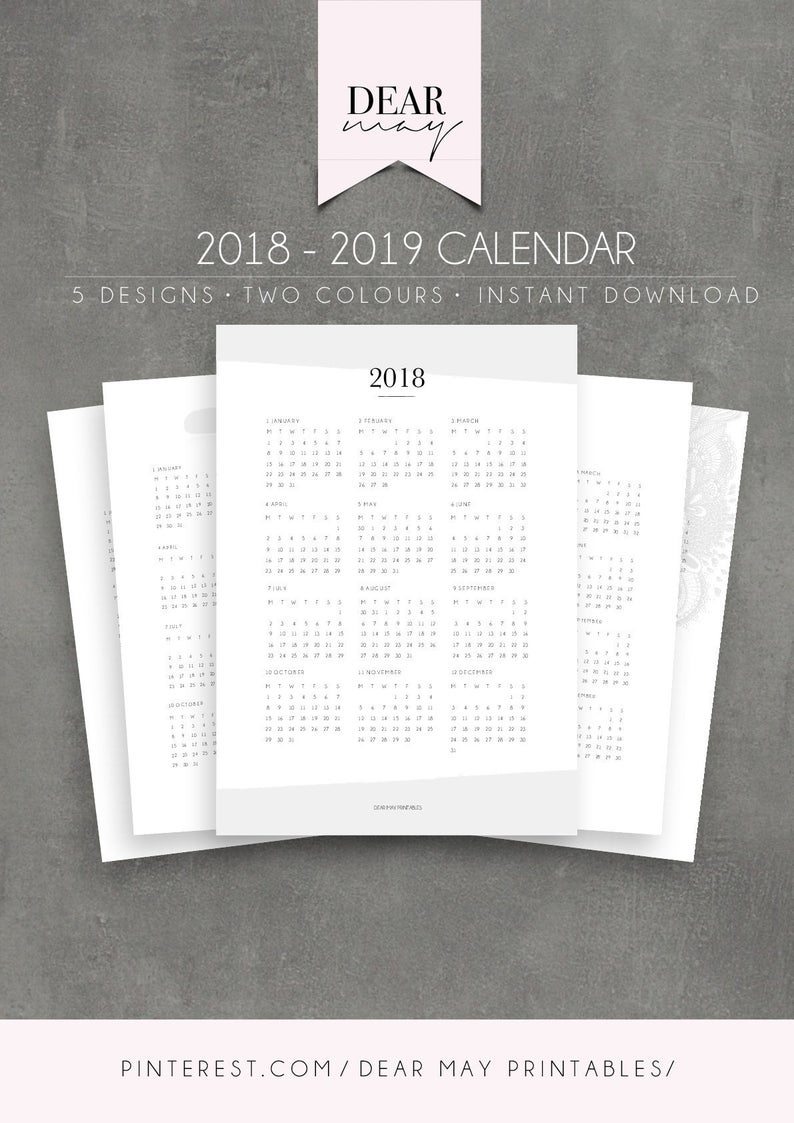 2018-2019 Calendar Printable ⋆ 2018 Calendar ⋆ 2019 Calendar ⋆ 5 Designs ⋆  Annual Overview ⋆ Yearly Planner ⋆ Student Planner ⋆ Us And A4 Impressive How To Download Zurich Calendar